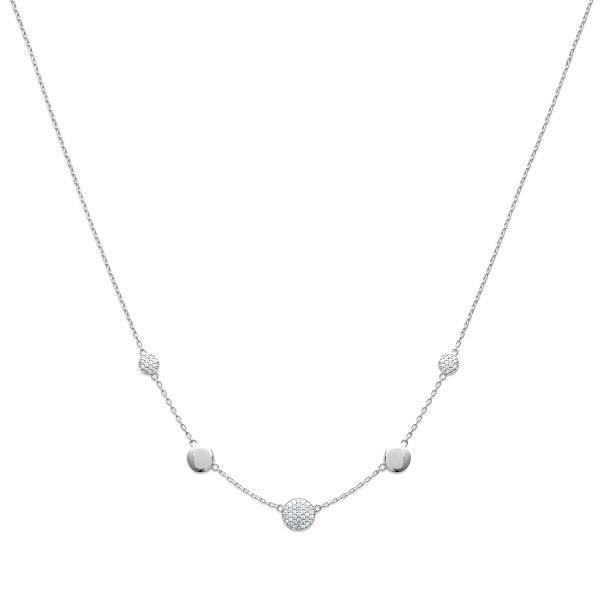 Collier ronde de Cristal Zirconium Argent Massif 925/1000 Rhodié