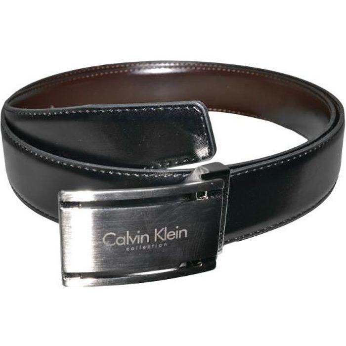 5be5e0ac6e6a Calvin Klein - Ceinture - D22 - Homme - Cuir - Noir Marron - Taille Unique