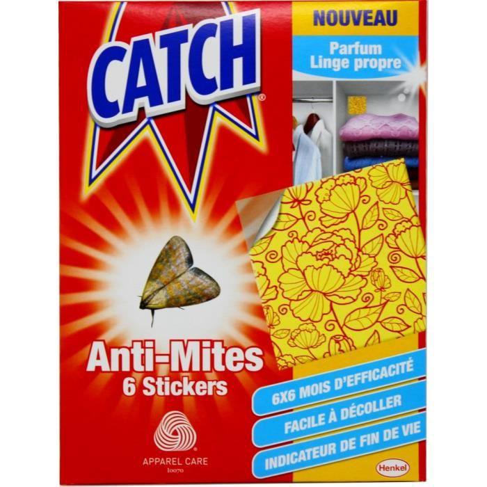 PRODUIT INSECTICIDE  CATCH - Anti mites pour vêtements x 6 stickers