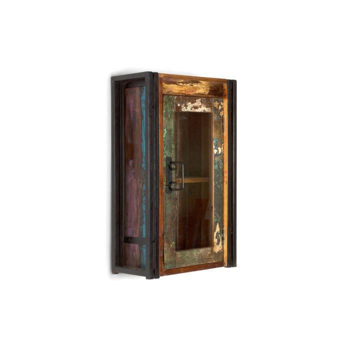 armoire murale qu bec en bois dur multicolore achat. Black Bedroom Furniture Sets. Home Design Ideas