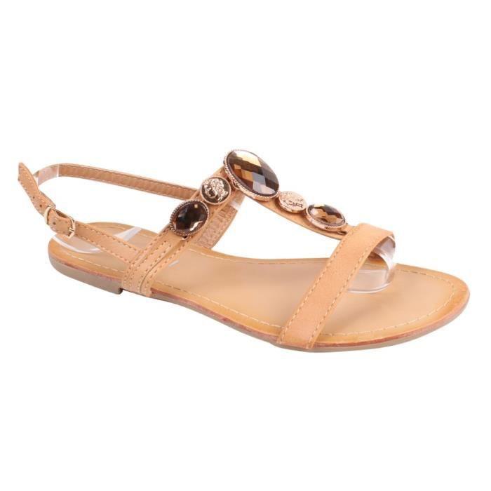 2a216a2bf2a1 Sandale Nu-pieds camel Camel - Achat   Vente sandale - nu-pieds ...