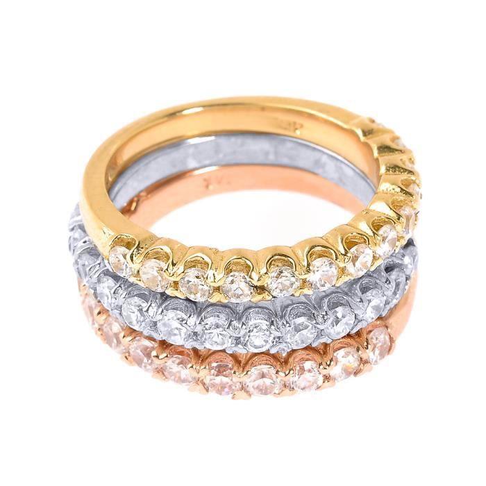 Bague Femme 14 ct 585/1000 Or 3 Couleurs Diamant Empilable 3 pièces Set