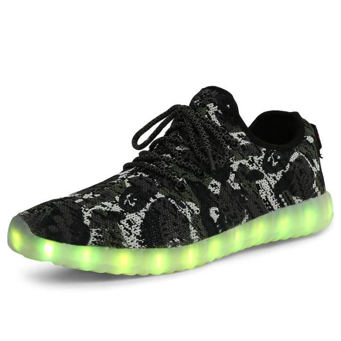 Mode Flyknit Lumière LED Chaussures Camouflage ...