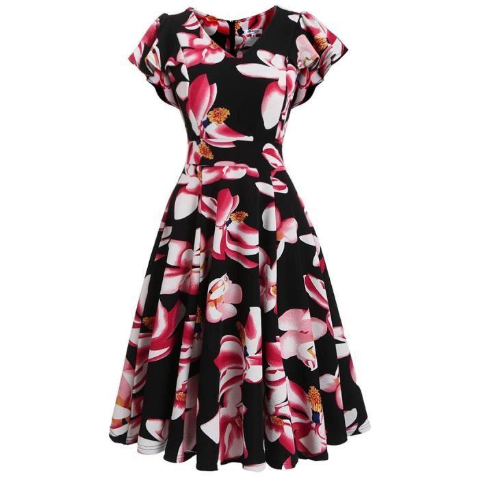 Robe à imprimé floral pivotante à main en V à encolure pour Femme