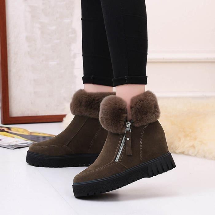 Femmes Mode Outdoor Bottes hiver fourrure Bottes talon doublé femme Bottes Casual lacent cheville Bottes court en cuir HUy11w,