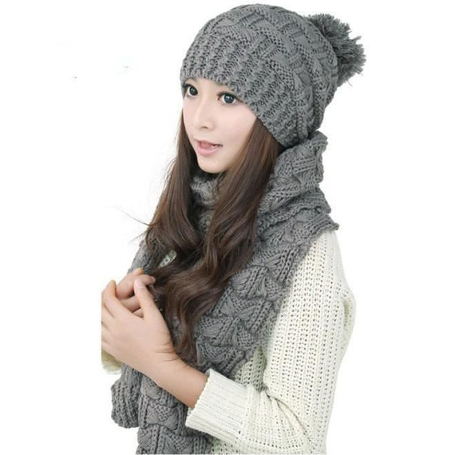 cea1f320617d6 Deessesale®1set chaudes laine tricot écharpe capuche châle casquettes  costume pour femme ZJW11194192