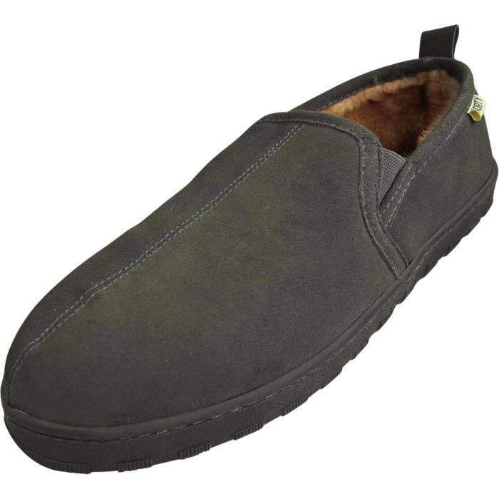 Mens Genuine Leather Cowhide Suede Slippers - Twin Gore Slip On Loafer - Lux Plush Fur Lining FPISX Taille-42 fgEAN