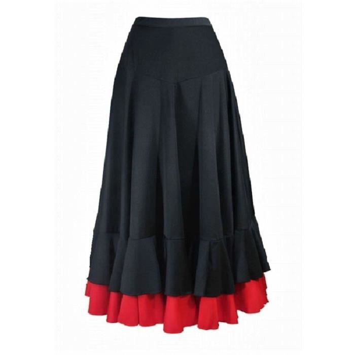 de14c4a6e7993 Jupe femme de flamenco à 2 volants Noir Noir - Achat   Vente jupe ...