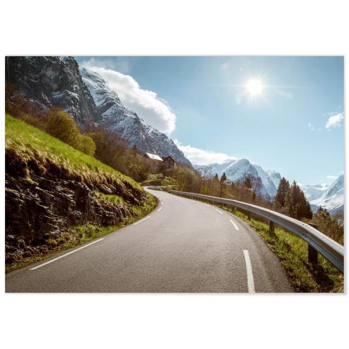 TABLEAU - TOILE Panorama® Tableau Montagne Enneigée 100 x 70 cm -