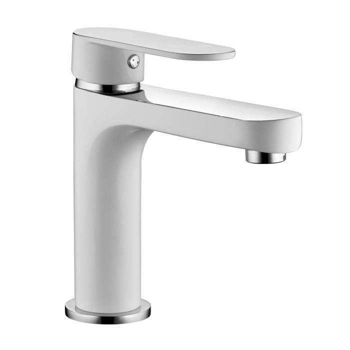 ROUSSEAU Robinet mitigeur lavabo Adaman - Blanc - Achat / Vente ...