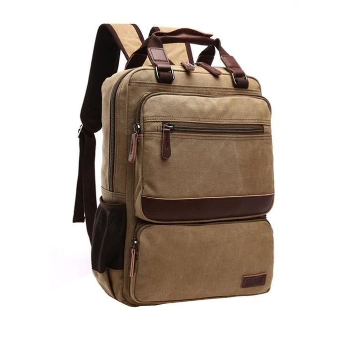 Vbiger à la mode toile sac à dos sac à bandoulière pour ordinateur portable Durable pour hommes, kaki