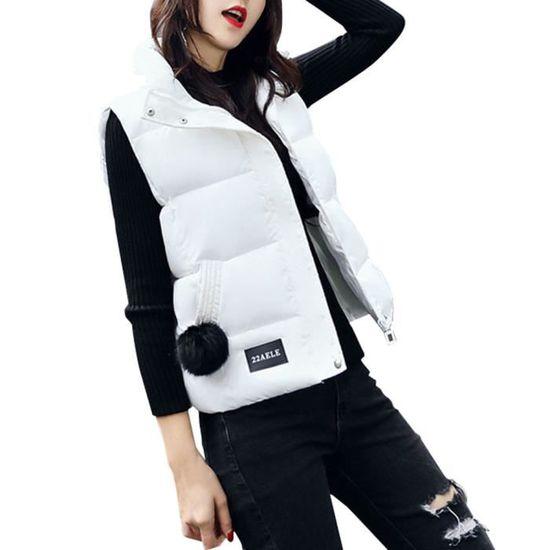 Gilet Manteau Hiver Veste Outwear Coton Chaud Féminine Blanc Parka Mode wTqSpx