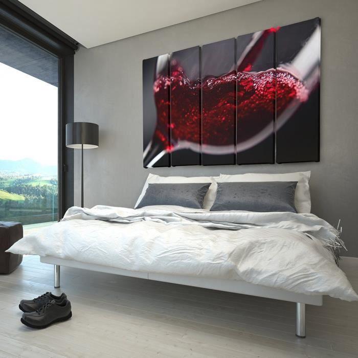 Tableau Déco Multi Panneaux Mural Impression Sur Toile 150x100 Vin Rouge