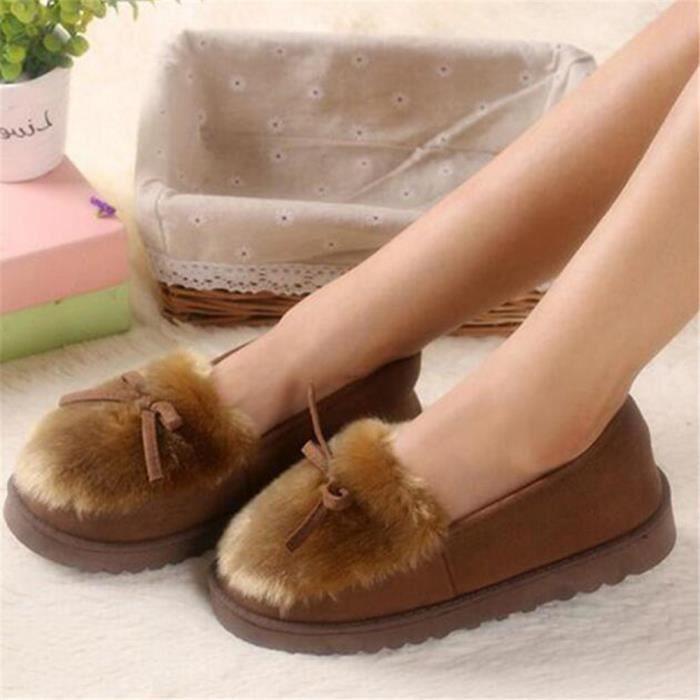 Chausson femme hiver chaud maison léger version pantoufles peluche chaussures femmes de luxe de marque Plus De Couleur 0z4CxxH