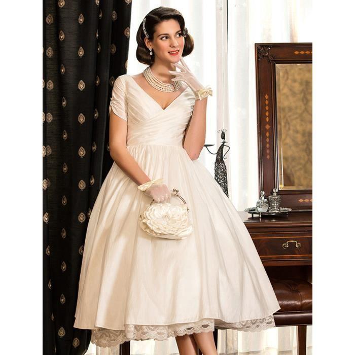 Robes de mariée Mariage Courte Rétro Satin En Dentelle Bal Cov V