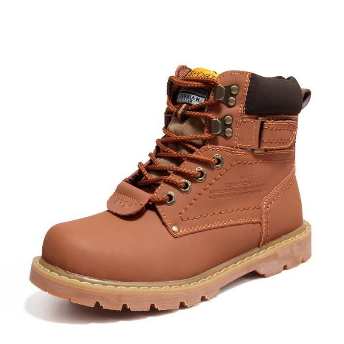 Hommes & # 39; bottes de neige en cuir véritable locomotive Martin bottes courtes d'hiver brun plus velours plate-forme étanche