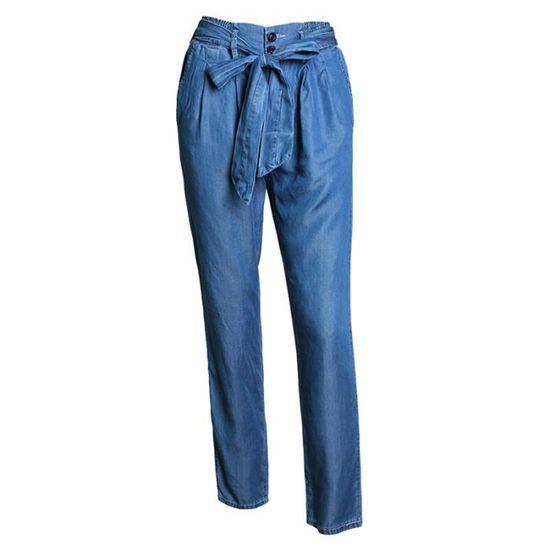 07844967a57 Vintage Jean Large Taille Haute Délavage Avec Ceinture Pour Femme Bleu Bleu  - Achat   Vente jeans - French Days dès le 26 avril ! Cdiscount