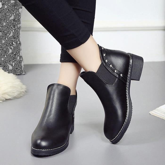 Plates Chaussures Toe Rivets Cuir xz Bottines Martain Bottes Ronde Noir En Femmes 1547 qB6wg