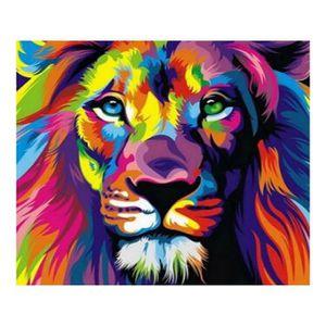 PEINTURE VERRE-VITRAIL 5D Diamant Broderie Animal de lion de foret comple
