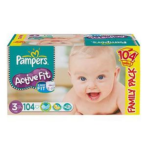 COUCHE Pampers Active Fit Taille 3 (4-9KG) 104 Couches