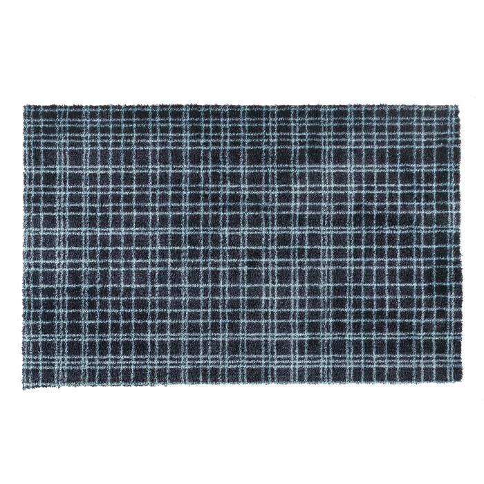 Couleur noire rayée bleu ciel - Lavable 30° - 100% Polyamide - 60x100 cm - Usage intérieurTAPIS D'ENTREE - TAPIS DE SEUIL