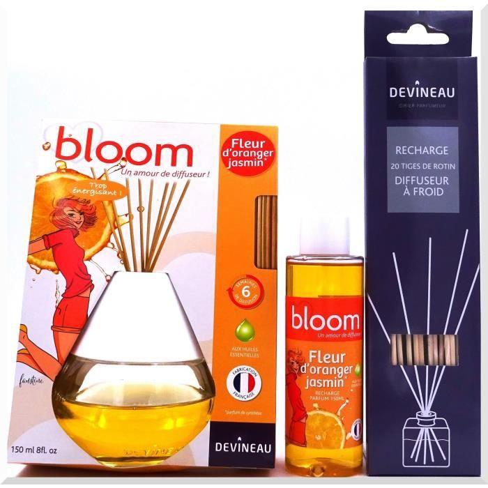 DEVINEAU Diffuseur de parfum à froid Bloom 150ml Fleur d'Oranger Jasmin, recharge et 20 tigesBRULEUR DE PARFUM - DIFFUSEUR DE PARFUM