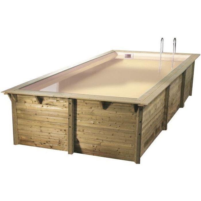 UBBINK Piscine rectangulaire en bois Azura 350x505xH126 cm - Liner sable