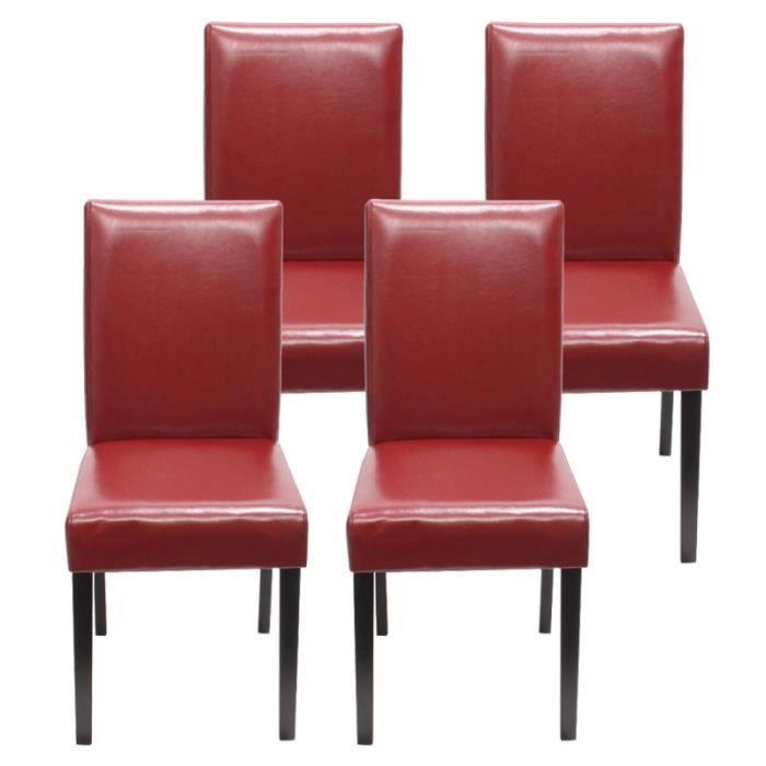 Lot De 4 Chaises De Salle A Manger Simili Cuir Rouge Pieds Fonces