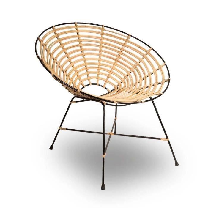 fauteuil rond m tal et rotin kubu couleur naturel achat vente fauteuil noir soldes d s le. Black Bedroom Furniture Sets. Home Design Ideas