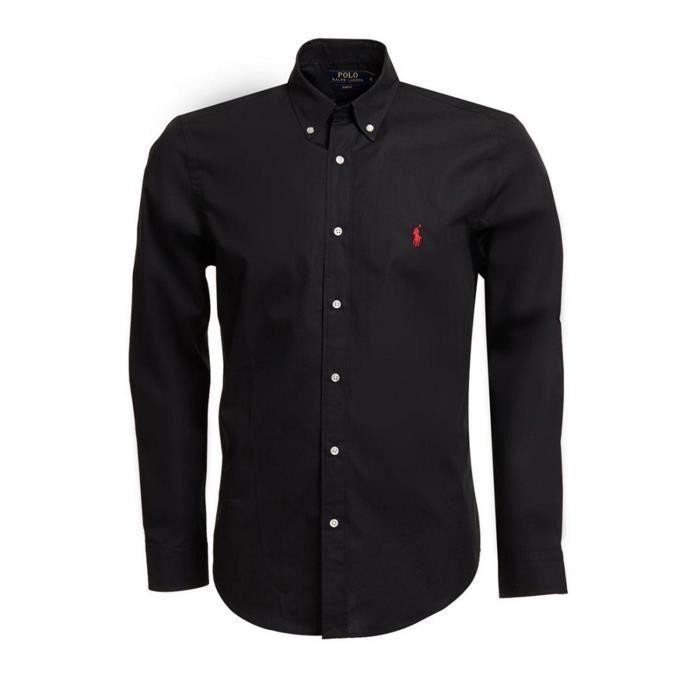 Polo Ralph Lauren Chemise Slim Fit Noir Noir - Achat   Vente chemise ... 463138d880a8