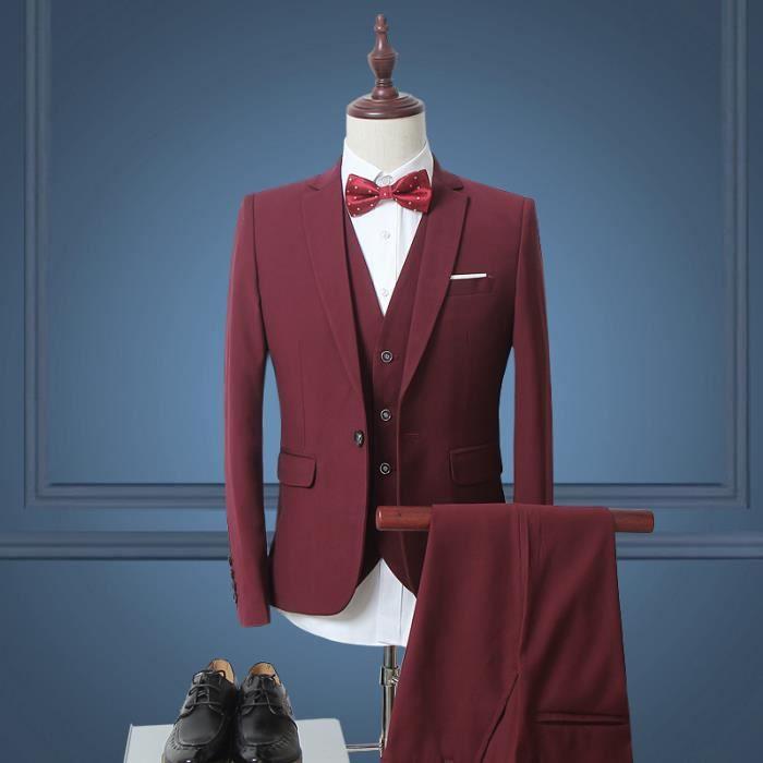 Costume homme bordeaux - Achat   Vente pas cher d6fb08c2e71