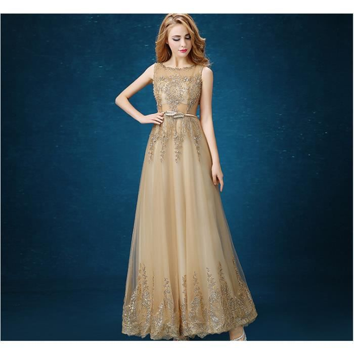 92152e1865e GLAM® 2017 Tulle Dentelle Or Musulman et robe de soirée robe Long Robe  formelle Robes de demoiselle d honneur Robes avec ceinture