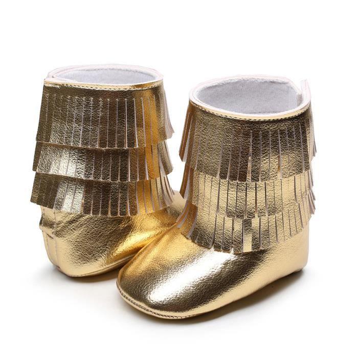 25417541ee322 Hiver 3 couches franges bébé bottes en bas âge tout-petits bottes de fond  molles Or