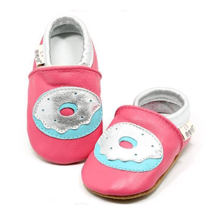 prix compétitif 7036d e3c17 Chaussures Cuir Souple Bébé Fille Chaussures Bébé Garçon Chaussons Bébé  Cuir Souple Motif Donut