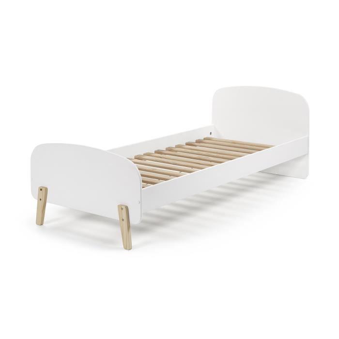 kiddy lit enfant scandinave en bois pin massif et mdf laqu blanc l 90 x l 200 cm achat. Black Bedroom Furniture Sets. Home Design Ideas