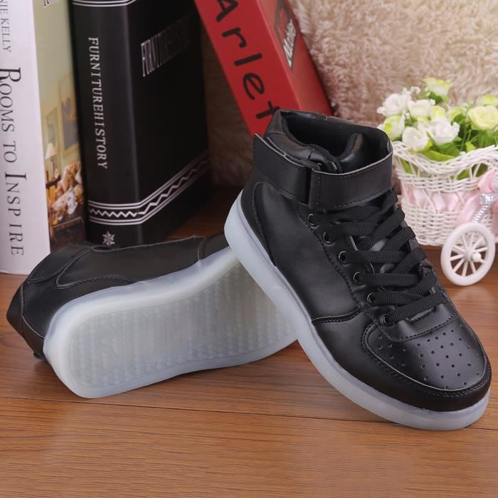 LED USB Shoes Sport Sneakers Lumineuses Chaussures Femme Fille Mode NOIR Taille:39