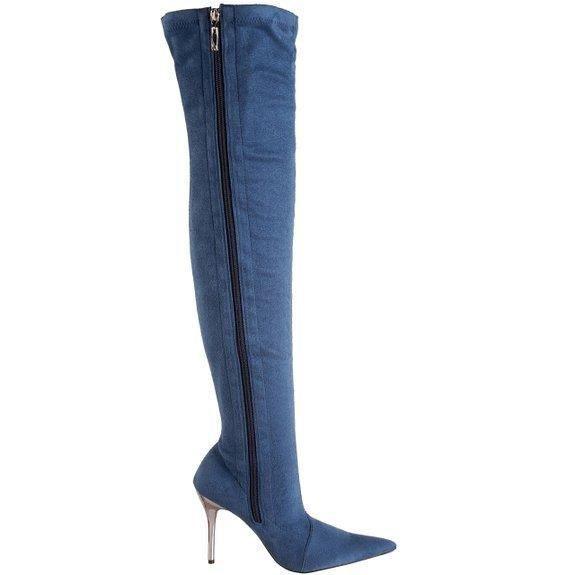 Cuissardes HIGHEST HEEL sexy chic Daim bleu Perfect Suede Pointure 38