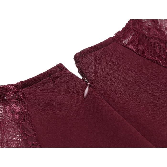Femmes robe crayon en dentelle à manches longues patchwork