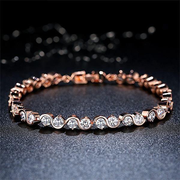 Glamorousky mode rose bracelet plaqué or blanc zircon cubique (23669)