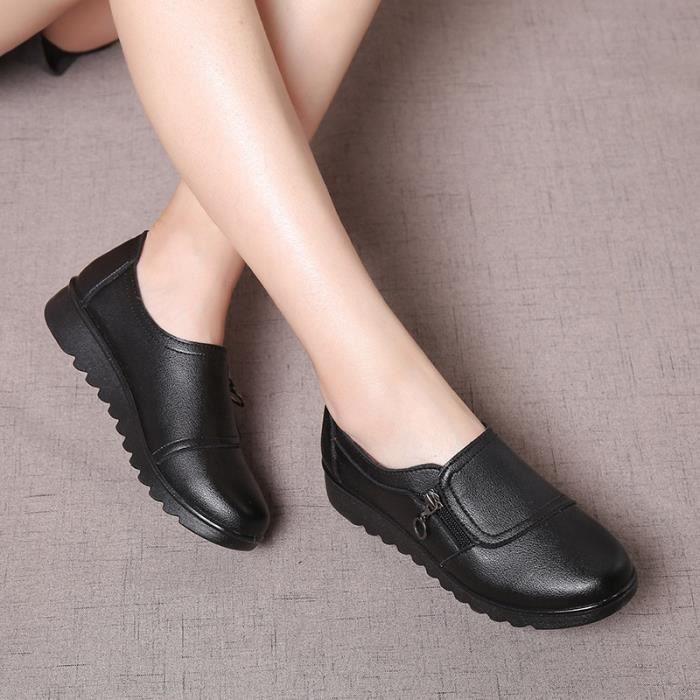 PU Chaussures en cuir femme Enfilez Mocassins confortables Chaussures maman plate-forme Flats chaussures femmes,noir,36