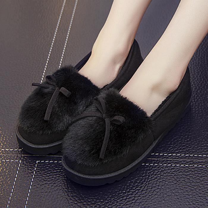Bbzh Pais Femme Fond rouge Chaussure Noir rose gris Chaussures Hiver xz065noir37 Peluche jaune fIRxR
