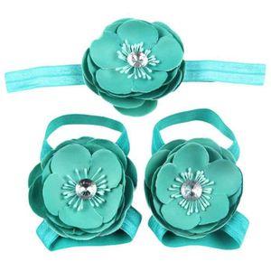 Napoulen®3Pcs bébé pieds nus dentelle Chaussures sandales fleurs chaussures ensemble BK-XPP10200508 XeMq7dhDEh