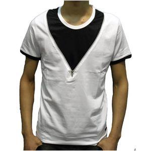 T-SHIRT T-shirt col rond zip blanc