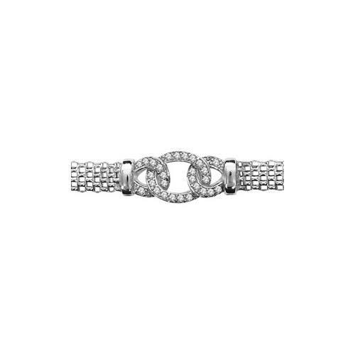 Bracelet argent rhodié maille milanaise + maillons