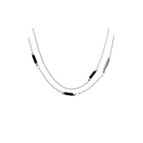 Collier acier double rangs éléments noirs 60+5cm