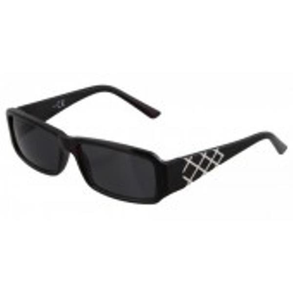 lunettes de soleil noir avec des lignes blanches sur les jambes.