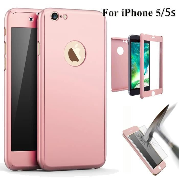 coque iphone 5 rose verre trempe