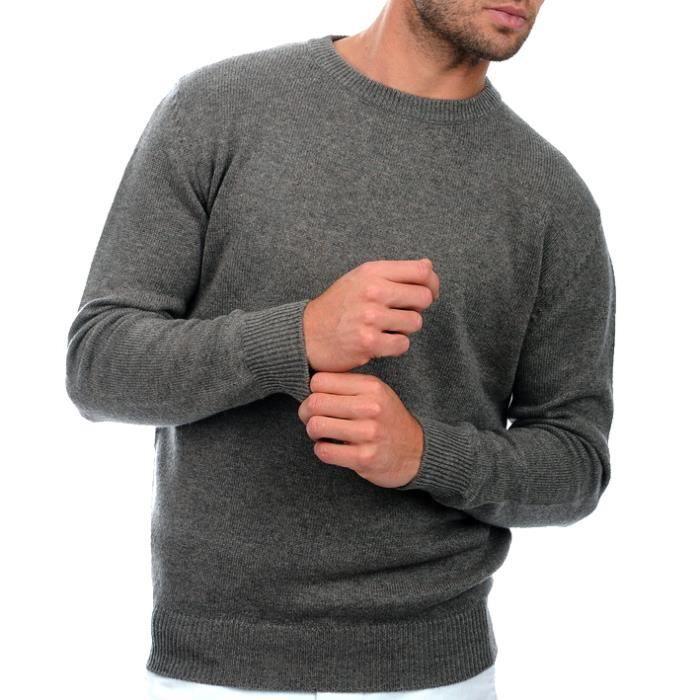 Pull homme gris clair col rond tendance en cachemire et laine Gris ... 5b0d99bb5006