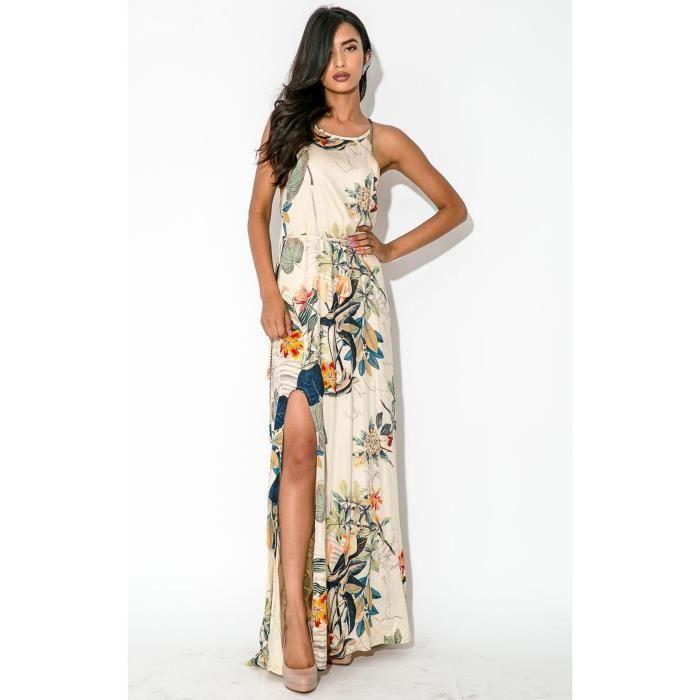 2d23fea05e3 Maxi robe-tunique longue femme col rond sans manches fendu devant imprimé  fleur vintage sexy grande taille d été 2…