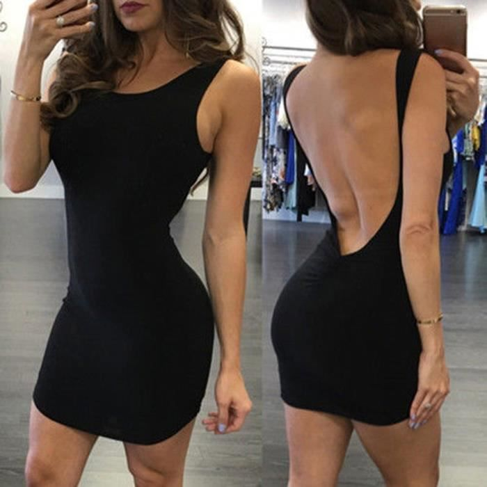 Robe femmes sans manches solide Backless